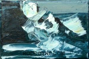 """Atlantic Crash"" 15x10cm, oil on canvas, 2010."