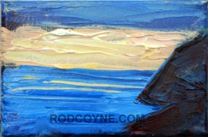 """Bolus Sunset"" 15x10cm, oil on canvas, 2010."