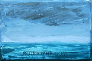 """Horizon Mist"" 18x24cm, gold leaf and oil on canvas, 2010."