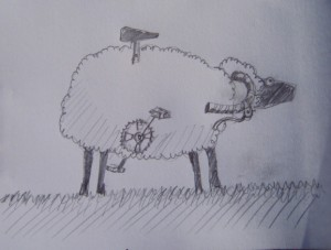 My original idea was to fuse a racer bicycle with my sheep template. I thought the handlebars as horns would make a handsome ram.